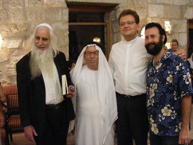 Facilitating an evening to remember Sheikh Bukhari: Rabbi Froman, Ibrahim Abuelhawa, Rev. Uwe Grabe, Eliyahu McLean