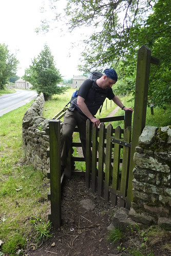 Trying to get through a kissing gate near Reeth
