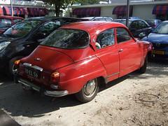 automobile, vehicle, compact car, antique car, sedan, classic car, saab 96, land vehicle,