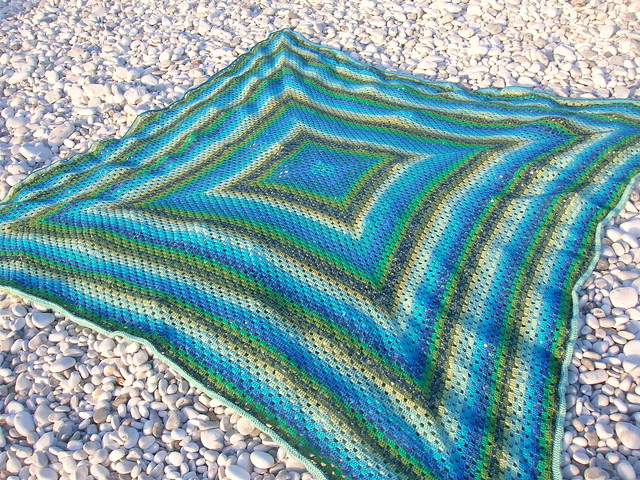 Green Crochet Afghan Pattern : Green-Blue Rhomb Crochet Afghan Flickr - Photo Sharing!