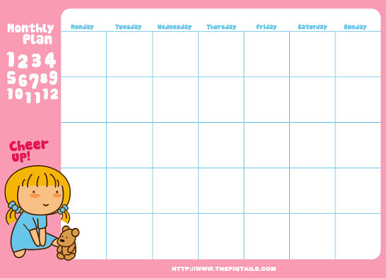 Kawaii Calendar Planner : Pigtails monthly planners