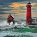 """September Gale"" Grand Haven Breakwater Lighthouse is located in the harbor of Grand Haven, Michigan (Explore # 5  Sept, 16 2010)"