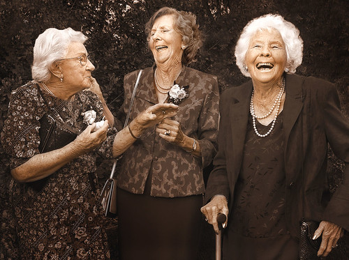 Grandmothers laughing.