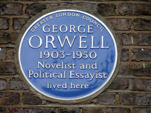 George Orwell blue plaque - George Orwell 1903-1950 novelist and political essayist lived here