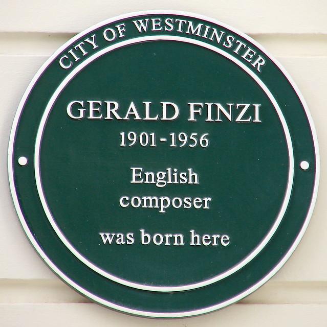 Gerald Finzi green plaque - Gerald Finzi  1901-1956  English composer  was born here