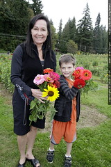 grandma, nick and their zinnias