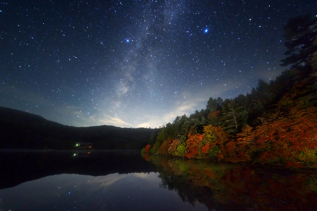 Galaxy autumn lake