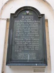 Photo of John Arthur Roebuck Rudge and William Friese-Greene black plaque