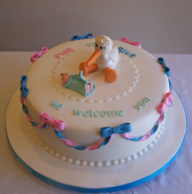 Stork baby shower cake flickr photo sharing for Baby shower stork decoration