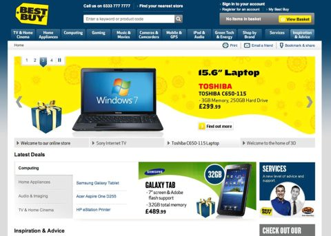 Best buy uk site review econsultancy for Top homepage