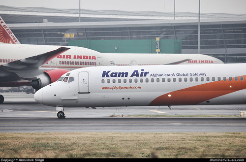 Kam Air: McDonnell Douglas MD-80 at new terminal 3 of IGI airport- Delhi