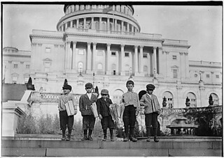 Group of newsies selling on capitol steps. Tony, 8 years old, Dan, 9 years old, Joseph, 10 years old, John, 11 years old. Washington, D.C., 04/11/1912