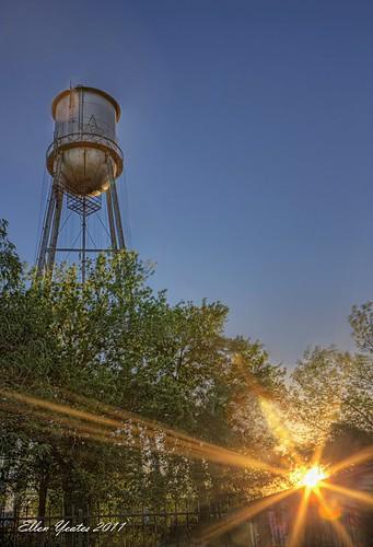 sunset tree water rock canon fence austin ellen texas tank round hdr sunflare yeates