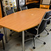 Oak barreled boardroom table with chrome legs e280