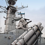 A quad  Harpoon missile launcher and a Goalkeeper 30mm Automatic Close-in Weapon System on the British Type 22 Frigate HMS Cumberland