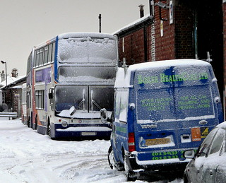 Bus in the snow at Cheriton Bus Depot