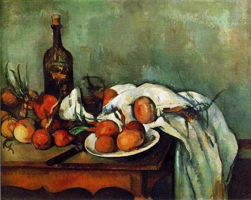 Paul Cézanne - Still Life with Onions and Bottle at Musée du Louvre Paris France