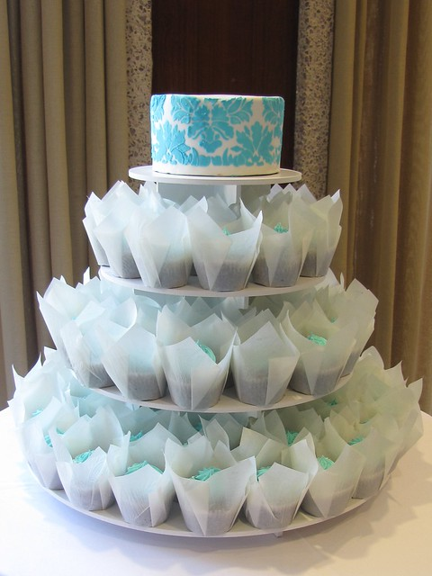 Tiffany Blue Wedding Cupcakes 9 dozen chocolate cupcakes frosted with