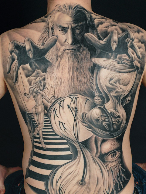 Black grey tattoo book explore needles and sins for Back mural tattoo designs