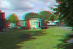 Bluebell Railway Kingscote Station  in anaglyoh 3D stereo red cyan glasses to view