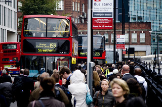 October 4th Tube Strike -- Crowded Bus Stand