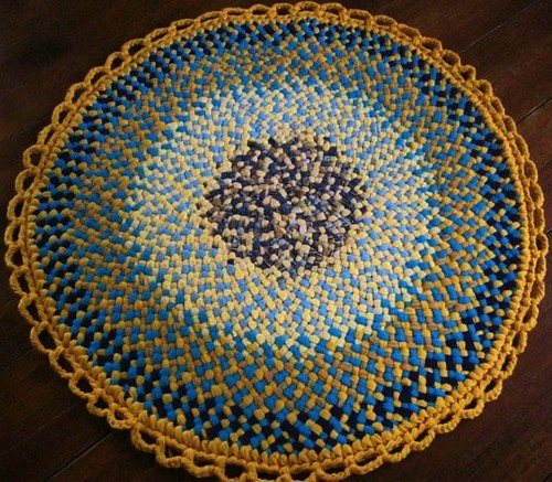 Golden Yellow Round Braided Rug