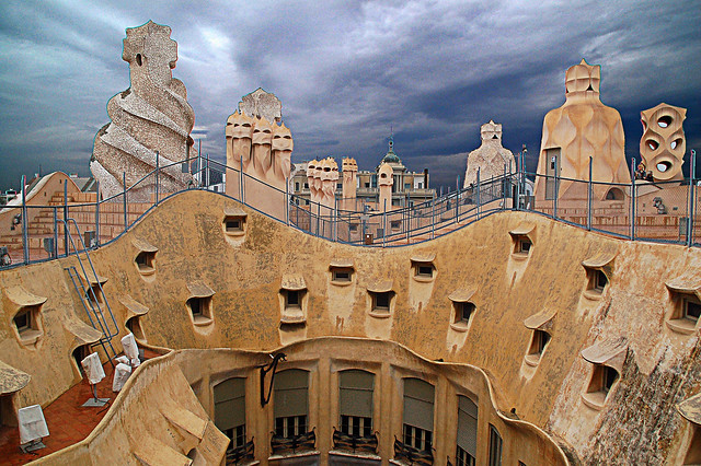 La Pedrera Casa Mila Roof Details, Barcelona Stock video ... |Casa Mila Roof