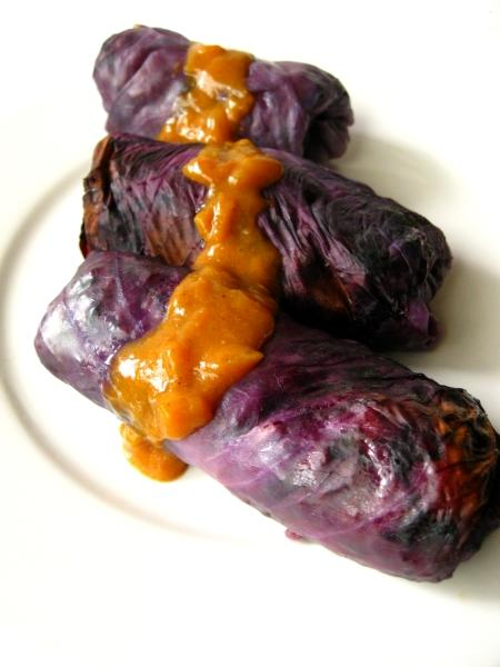 Hot Sausage Stuffed Red Cabbage leaves