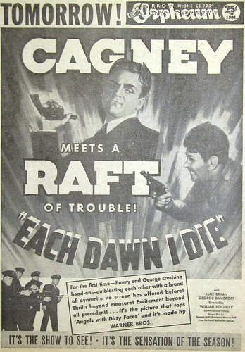 Original 1939 newspaper advert for James Cagney & George Raft film 'Each Dawn I Die'