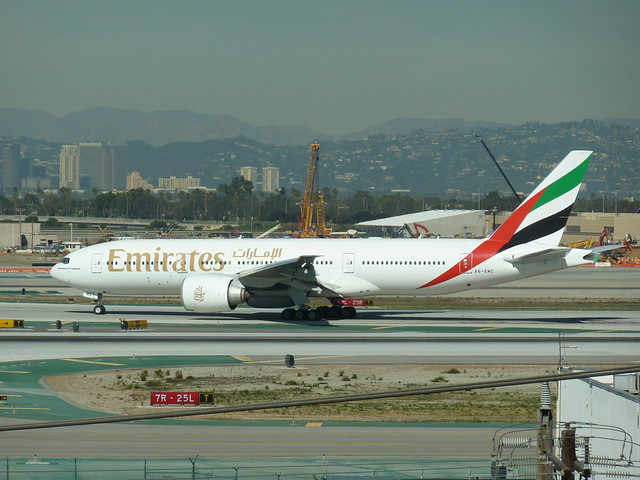 Emirates Airlines jet at LAX