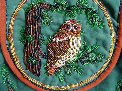 My owl barn bead embroidery janet dann