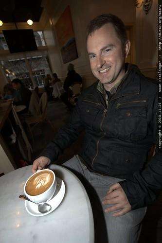 brian having a big latte