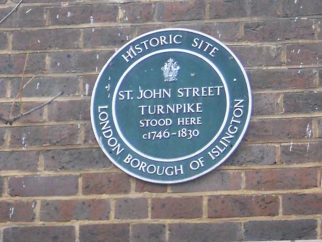 St. John Street Turnpike green plaque - St. John Street Turnpike stood here c1746-1830