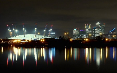 Canary Wharf skyline at night, London, UK   reflection