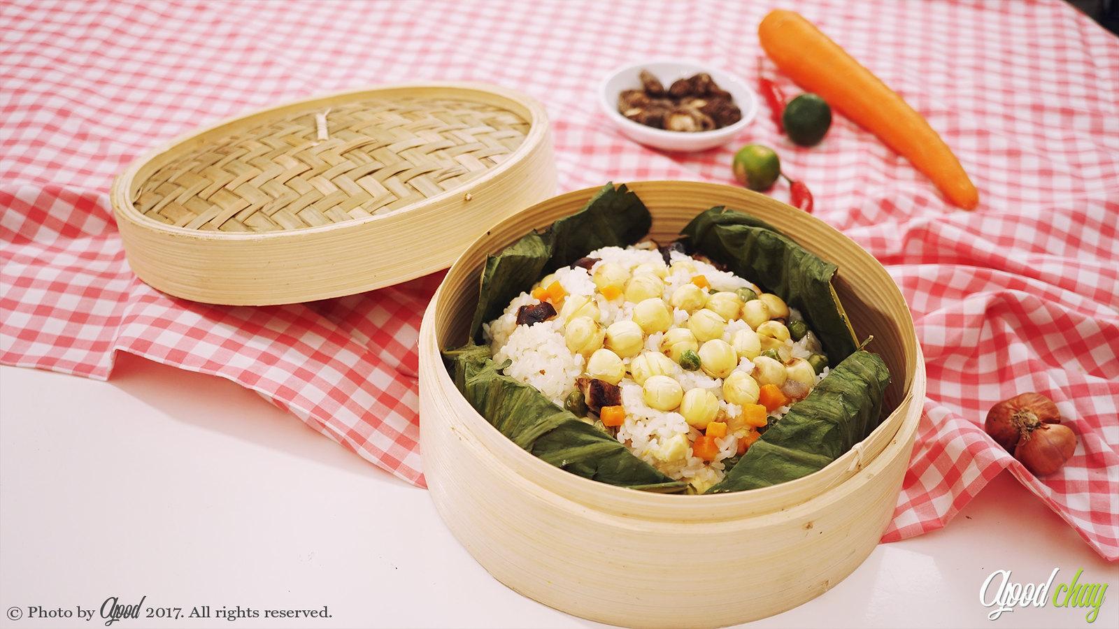 [afoodchay] | Vegetarian Steamed Rice Wrapped in Lotus Leaf – Vietnamese Vegetarian Recipe
