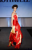 Red Gold Circular Silk Tube Dress, with Wrap Overskirt