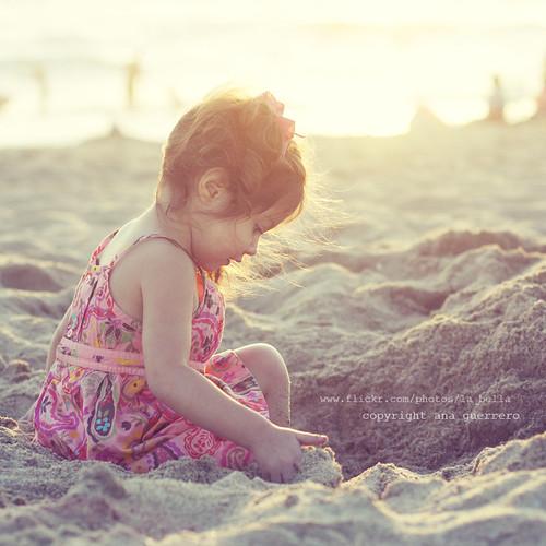 . my little princess on the beach .