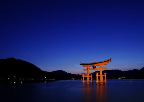 Miyajima Torii at twilight?Worldheritage?