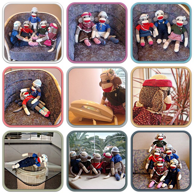 The Sock Monkeys in Japan visit a resort with their Mama.