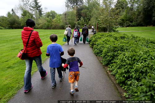 families escorting their kids to the first day of school