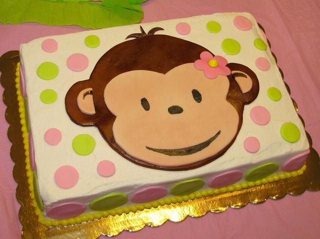 Pink Mod Monkey First Birthday Buttercream And Fondant