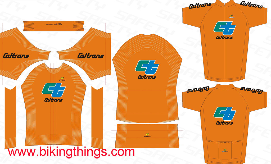CALTRANS-orange bike jersey custom jersey design