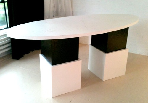 6 by 3 feet oval table top rental. Can be any height with cubes available in all sizes. Can be used here at Shop Studio or delivered anywhere you need.  Can also be painted any color, be branded and we can take care of it all in house for you. Email