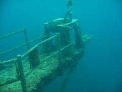 underwater diving(0.0), vehicle(0.0), ship(0.0), sports(0.0), marine biology(0.0), scuba diving(0.0), watercraft(0.0), reef(0.0), ocean(1.0), underwater(1.0), shipwreck(1.0),