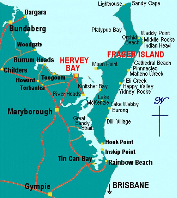 Fraser Island Australia: A044/Australia/Queensland South/Fraser Island Map