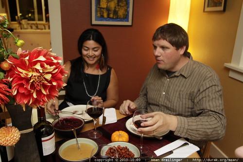 marisa & taiga sit down to dinner