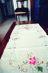 art, textile, linens, room, tablecloth, pink,