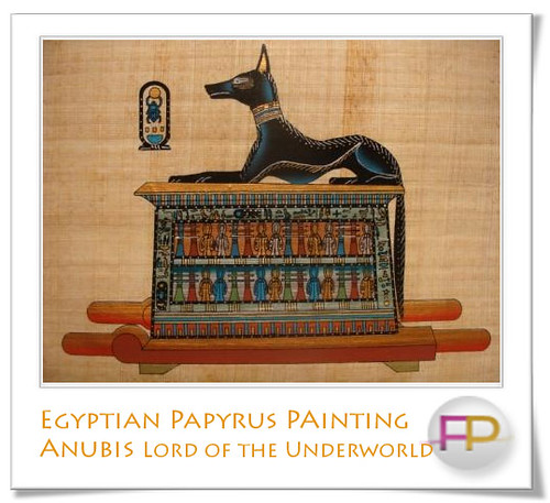 Egyptian papyrus painting of anubis lord of the underworld for Decoration egyptienne murale
