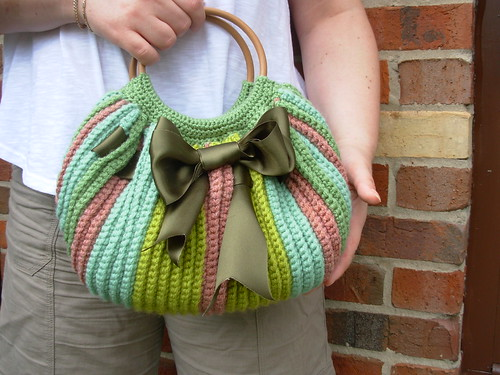 Crochet green fat bag