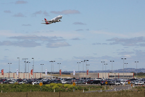 Taking off over the Avalon Airport passenger terminal and car park